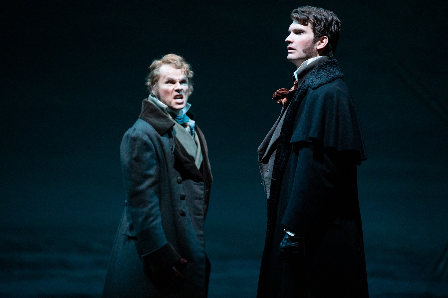 Colin Ainsworth (Lensky) and Michael Adams (Eugene Onegin). Philip Newton photo.