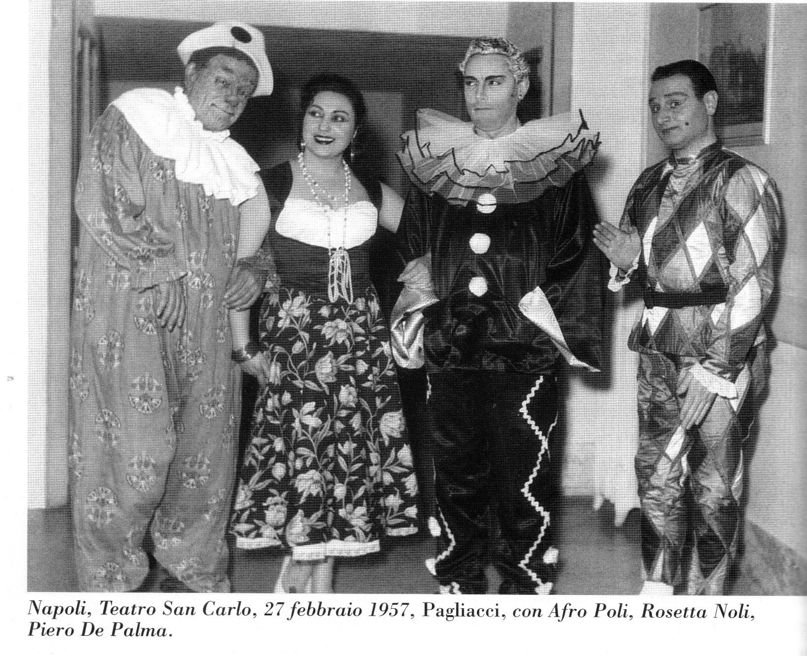 a dx Piero De Palma (Arlecchino) accanto a Mario Del Monaco, Rosetta Noli e Afro Poli