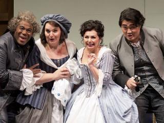 Arthur Woodley (Dr. Bartolo), Margaret Gawrysiak (Marcellina), Nuccia Focile (Susanna) and Shenyang (Figaro) ph. Philip Newton