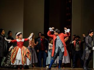 "Nuccia Focile (Susanna), Shenyang (Figaro) and Morgan Smith (Count Almaviva), in ""The Marriage of Figaro.""   Photo by Tuffer"
