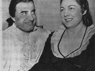 Il tenore Umberto Borsò con Renata Tebaldi