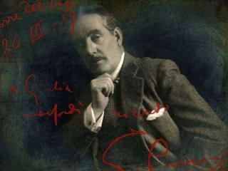 altra foto, con dedica in rosso, di Puccini a Giulia