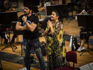 Anna Netrebko e Yusif Eyvazov durante le prove  Foto: Yasuko Kageyama-Teatro dell'Opera di Roma